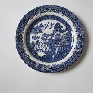 "Churchill Blue Willow Pagoda Dinner Plate 10.25"""